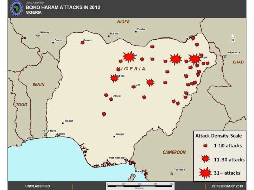 Map released by AFRICOM in its 2013 posture statement showing the approximate areas and density of Boko Haram attacks in Nigeria in 2012.