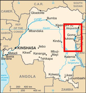 Map of the Democratic Republic of Congo showing the approximate zone of conflict with the M23 rebel group.  The city of Goma has historically been a major point of contention in the region and one can see the tri-border region with Uganda and Rwanda, both accused of providing support to M23.